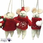 Gisela Graham Red White Wool Mice Mouse Jumper Hanging Christmas Tree Decoration