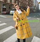 Women Yellow Grids Checks Double Breasted Lapel Collar Wool Blend Coat Thick#