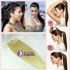 """24"""" 28"""" long thick 140g remy  human hair ponytail clip-in human hair extensions"""