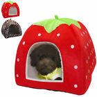 Strawberry Dog Igloo House Bed Chihuahua House Kennel Kitten Warm Cushion
