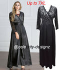 pld49 PLUS SIZE Women Black Lace Maxi Cocktail Evening Dress 16 18 20 22 24 26