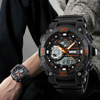 Mens Quartz Analog Led Digital Watch Dual Time Zone 5ATM Waterproof Wristwatch