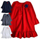 Girls Ruffle Sleeve Tunic New Kids Cotton Rich Frill Dress Top Ages 2 - 10 Yrs