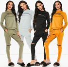 NEW WOMEN DISTRESSED TWO PIECE LOUNGE WEAR ZIP RIPPED TRACKSUIT JOGGERS SET 8-14