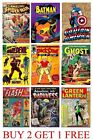 VINTAGE MARVEL DC COMICS SUPER HERO A5 A4 A3 ART POSTER A to H