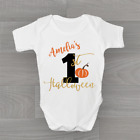 Personalised Girls 1st Halloween - No.1 First Pumpkin Baby Grow Bodysuit Vest
