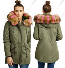 NEW Womens FAUX FUR PARKA CANVAS PADDED JACKET COAT Size 8 10 12 14 16 Khaki