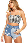 Womens Strappy Gingham Check Print Bralet Crop Top Ladies Shirring Back Stretch