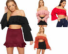 Womens Frill Layered Off Shoulder Bardot Long Flared Bell Sleeve Ladies Crop Top
