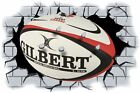 Huge 3D Rugby Ball Crashing through wall View Wall Sticker Mural Decal Film 101
