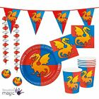 Knights And Dragons Medieval Birthday Party Partyware Tableware Cups Plates Set
