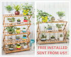 Free Installed Folding Bamboo Garden Flower Pot Rack Display Stand Shelf Rack