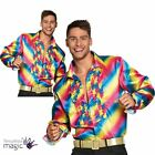 Mens 70s Saturday Night Rainbow Pride Carnival Party Shirt Fancy Dress Costume