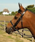Leather Plain Cavesson Bridle & Rubber Reins Shetland Pony Cob Full Black/Brown