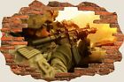 3D Hole in Wall Army Fighters Marksman View Wall Stickers Decal Mural 921