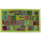 "20 X 40"" Green Patchwork Tapestry Wall Hanging Boho Decorative Bohemian Indian"