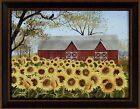 SUNSHINE by Billy Jacobs 15x19 FRAMED PICTURE Red Barn Sunflowers Flowers Farm
