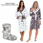 Kyпить Luxury Ladies Snowflake Hooded Dressing Bath Gown Robe Or Slippers Boots на еВаy.соm