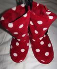NEW LADIES SLIPPERS BOOTS RED MIX MARKS & SPENCER POLKA DOT MACHINE WASHABLE
