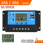 LCD 20A/30A PWM Solar Panel Battery Charge Controller 12V/24V Auto Regulator WB
