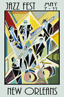 New Orleans Jazz Fest Music Trombone Drums Sax Horns Poster Repro FREE S/H