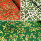 Lifestyle Christmas All Over Holly Leaves Berries 100% Cotton Fabric 140cm Wide