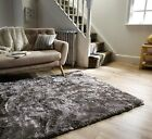 SILKY SOFT THICK PILE SILVER GREY SHAGGY CRUSHED VELVET EFFECT SERENITY RUG
