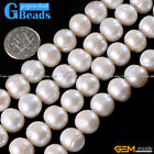 11-12mm Round Genuine Cultured Pearl Necklace Jewelry Making Stone Beads 15""