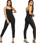Womens Contrast Striped Strappy Sleeveless Crepe Trousers Pants Ladies Jumpsuit