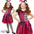 Girls Childs Halloween Freaky Jester Harlequin Clown Fancy Dress Outfit + Hat