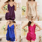 Sexy Womens Ladies Cami Pyjamas Satin Lace Nightgown Sleepwear Smooth Silk Set