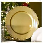 "Sets of 24,12, 6, 2 Gold Plastic Large Charger Plates Beaded Rims 13"" New"