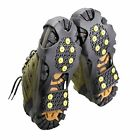 WINTER ICE ANT SLIP SNOW SHOE COVER SPIKES GRIPS CLEATS 10-STUD CRAMPONS PQ