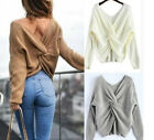Ladies Sexy V Neck Long Sleeve Sweater Pullover Loose Tops Blouse Knitwear GIFT