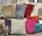 Luxury Square Shaggy Chenille Cushion Cover Textured Faux Fur Long Pile Shiny