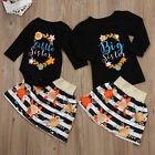 US Toddelr Kid Baby Girl Little/Big Sister Matching T-shirt Romper+Dress Outfits