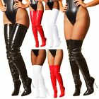 Kyпить Black White Red Patent Crotch Over The Knee Thigh High Heel Steel Stiletto Boots на еВаy.соm