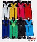 "New  Clip-on 1.5 "" Extra WIDE Suspenders Elastic Men Women Y-Shape  USA Seller"