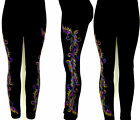 PLUS Size Full Length Leggings Hand Embellished Party Mardi Gras Leaves Design