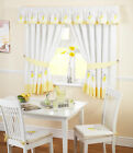 Lemons Kitchen Curtains Yellow Green Pink Ready Made Embroidered Net Curtain Set