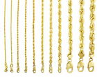"14K Yellow Gold Solid Rope Chain Necklace Bracelet 1mm-10mm Mens Women (7""- 30"") image"