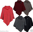 New Women Ladies Knitwear Knitted Poncho With Stylish Button Design One Size8-14