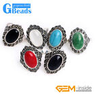 10X16mm Oval Stone Tibetan Silver Marcasite Fashion Jewelry Ring Free Shipping