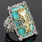 Designer 18K White & Yellow Gold Triple-Layered Filigree Turquoise White Zircon