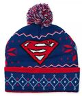SUPERMAN - Knit Pom Beanie - Ugly Sweater Hat One Size Red White Blue Fair Isle