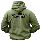 NEW HEAVYWEIGHT ROYAL MARINES LOGO 270gsm COTTON/POLYESTER GREEN HOODIE,M to XXL