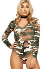 Womens Camouflage Bodysuit Top Ladies V Neck Print Long Sleeve Leotard New 8-14