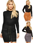 Womens Lace Up Eyelet Front Boho Faux Pocket Ladies High Waist Suede Mini Skirt