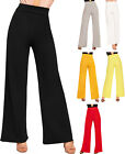 Womens Flared Wide Leg Plain Basic High Waist Pants Ladies Palazzo Trousers 6-14