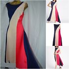 NEW MARKS & SPENCER COLOUR BLOCK DRESS ASYMMETRICAL BLUE RED NUDE SIZE 6 - 20